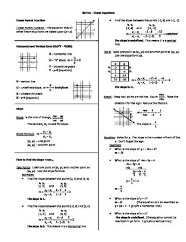 Notes - Linear Functions