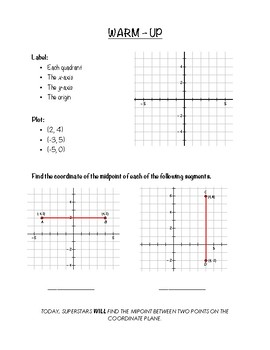 Geometry Notes (Distance & Midpoint) - Midpoint in the Coordinate Plane