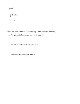 Notes: Multiplying and Dividing One step inequalities
