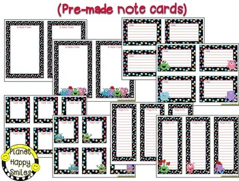 Notes/Notecards (EDITABLE) Monster Theme