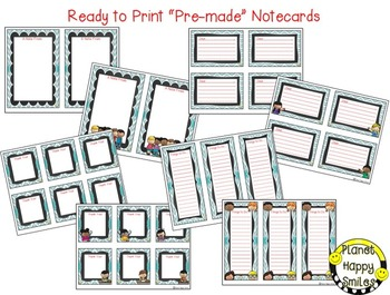 Notes/Notecards (EDITABLE) Teal and Chalkboard Theme