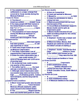 Notes Outline Unit 05 Mexican National Era and Empresarios