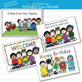 POSTCARDS FROM TEACHER (Karen's Kids Editable Printables)