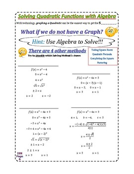 Notes Packet for Quadratic Functions