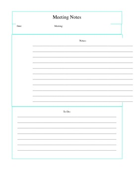 Notes Page for teacher binder