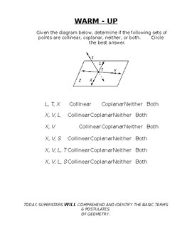 Geometry Notes (Basics of Geometry) - Points, Lines, & Planes