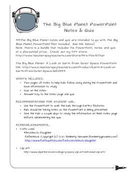 Notes & Quiz for Earth PowerPoint
