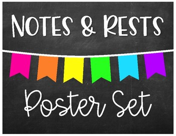 Notes & Rests - Poster Set - Chalkboard Brights