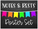 Notes & Rests - Poster Set - Chalkboard Brights