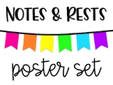 Notes & Rests - Poster Set - White & Neon