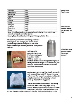 Free Middle School Earth Science Notes - Rocks and Minerals