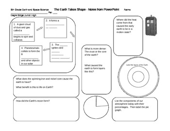Notes Sheet for Doctor Who Formation of Earth PowerPoint