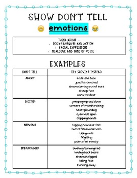 Notes: Show Don't Tell (Emotions)