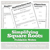 Notes: Simplifying Square Roots (Radicals) | Notes & Practice Foldable