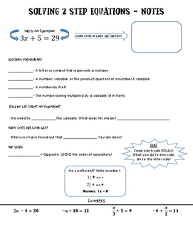 Notes - Solving 2 Step Equations + VOCAB