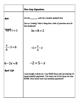 Notes - Solving Equations in Two Steps