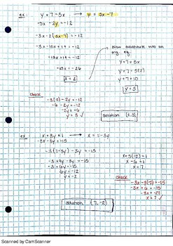Notes: Solving Systems of Equations using Substitution