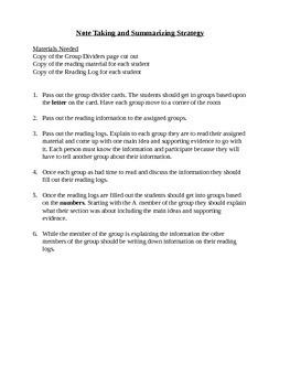 Notes Taking and Summarizing Strategy