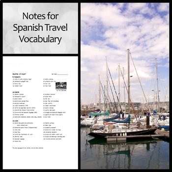 Notes: Travel Vocabulary