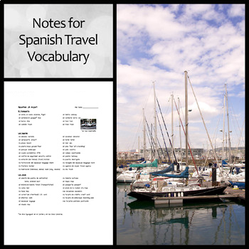 Notes: Travel Vocabulary in Spanish