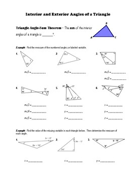 Interior Exterior Angles Triangle Worksheets & Teaching