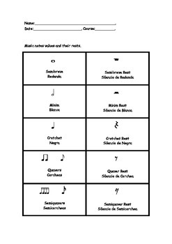 Notes Values and Rests