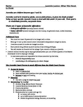 Notes Worksheet on Juvenile Justice & Crossword - criminal law