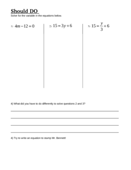 Notes, Worksheets, and Online Lessons for Solving Two-Step Equations