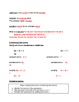 Notes and Guided Practice: Combining Like Terms (Answer key included)