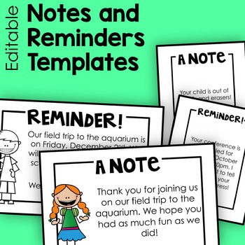 Notes and Reminders Templates (Half- and Quarter-Page)