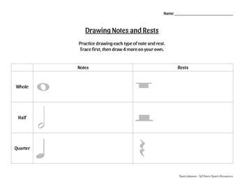 Notes and Rests - 3 different worksheets