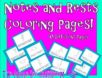 Coloring Pages- Notes and Rests