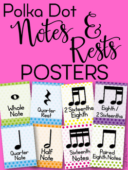 Notes and Rests Posters (Polka Dot)