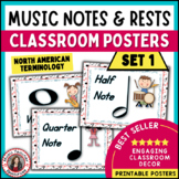 Music Vocabulary: Music Classroom Decor Kit: Notes and Rests Music Posters Set 1