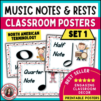 Music Classroom Decor: Notes and Rests Posters Set 1