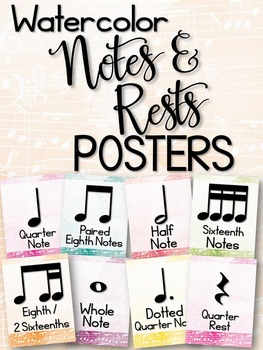 Notes and Rests Posters (Watercolor)