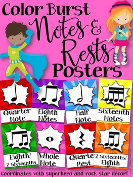 Notes and Rests Posters (Color Burst)
