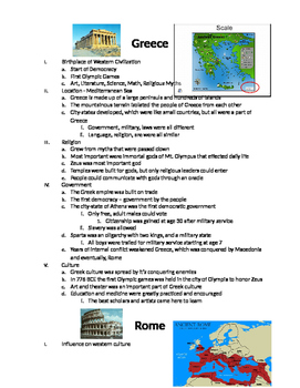 European History: Notes and Venn Diagram on Ancient Greece and Rome