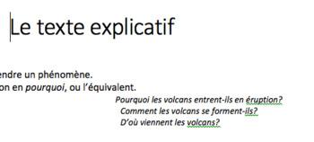 Notes de cours: le texte explicatif