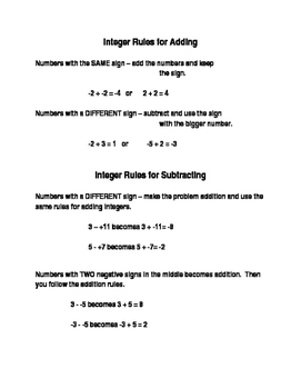 Notes for Adding and Subtracting Integers