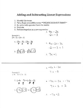 Notes for Adding and Subtracting Linear Expressions