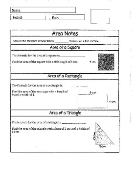 Notes for Area of Square, Rectangle, and Triangle