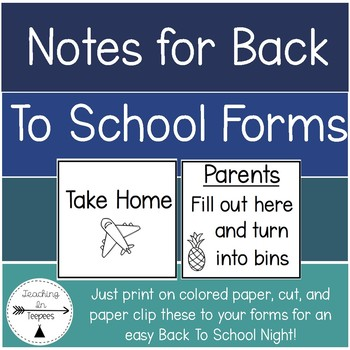 Notes for Back to School Forms