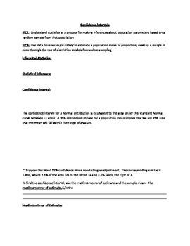 Notes for Common Core Algebra 2 Statistics-Confidence Intervals