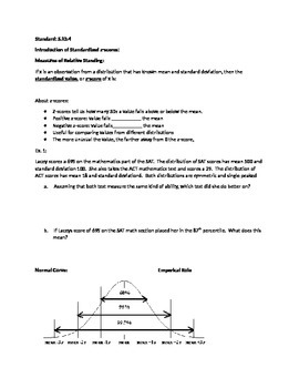Notes for Common Core Algebra 2 Statistics-Normal Distribution and Z-Scores
