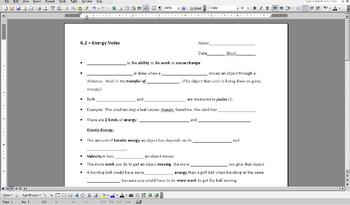 Notes for Energy, Kinetic Energy, Potential Energy, & Types of Energy PowerPoint