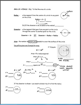 Notes for Finding the Area of a Circle
