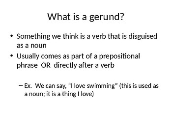 Notes for Gerunds
