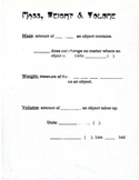 Notes for Mass & Volume