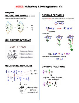 Notes for Multiplying &  Dividing Rational Numbers
